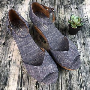 Toms Denim Chambray & Cork Peep Toe Wedge Shoes
